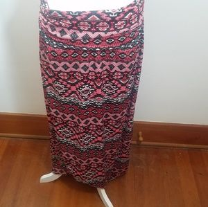 AGB maxi skirt tribal maxi dress stretch pink  XL
